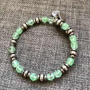 Alex and Ani Vintage 66 Silver Green Wrap Bracelet